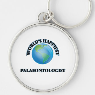 World's Happiest Palaeontologist Silver-Colored Round Key Ring