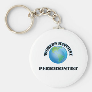 World's Happiest Periodontist Basic Round Button Key Ring