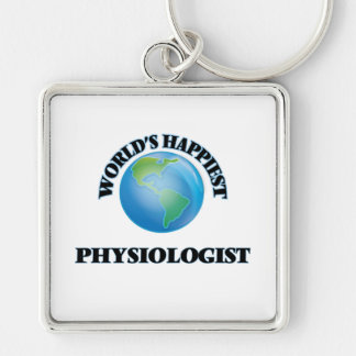 World's Happiest Physiologist Silver-Colored Square Key Ring