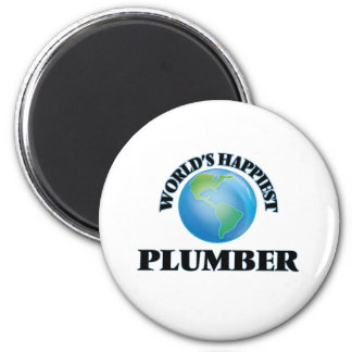 World's Happiest Plumber 2 Inch Round Magnet