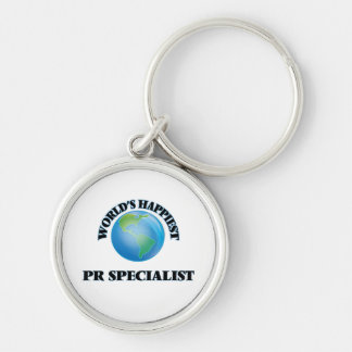 World's Happiest Pr Specialist Silver-Colored Round Key Ring