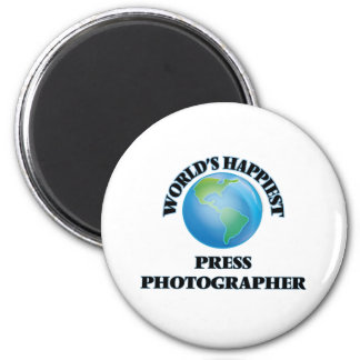 World's Happiest Press Photographer 2 Inch Round Magnet