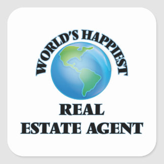 World's Happiest Real Estate Agent Square Sticker
