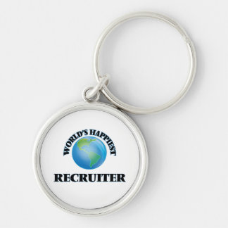 World's Happiest Recruiter Silver-Colored Round Key Ring