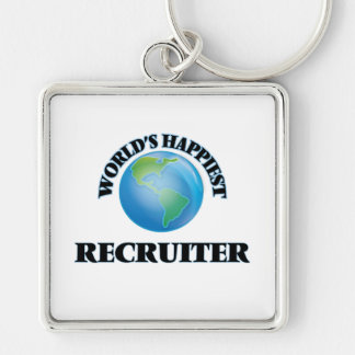 World's Happiest Recruiter Silver-Colored Square Key Ring