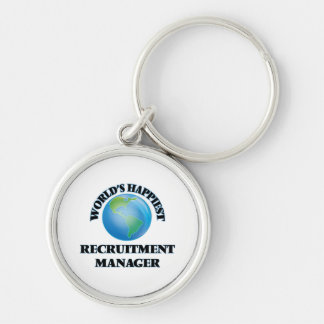 World's Happiest Recruitment Manager Silver-Colored Round Key Ring
