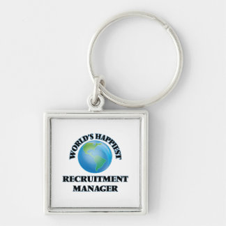 World's Happiest Recruitment Manager Silver-Colored Square Key Ring