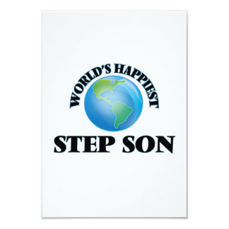 World's Happiest Step-Son 9 Cm X 13 Cm Invitation Card