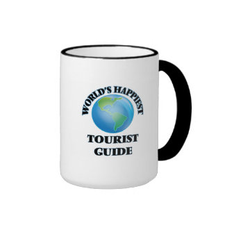 World's Happiest Tourist Guide Ringer Coffee Mug