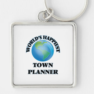 World's Happiest Town Planner Silver-Colored Square Key Ring