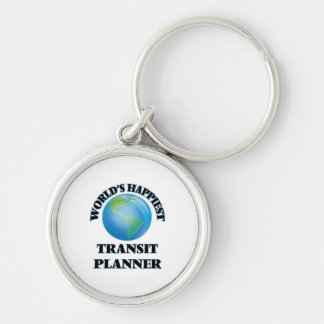 World's Happiest Transit Planner Silver-Colored Round Keychain