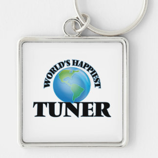 World's Happiest Tuner Silver-Colored Square Key Ring