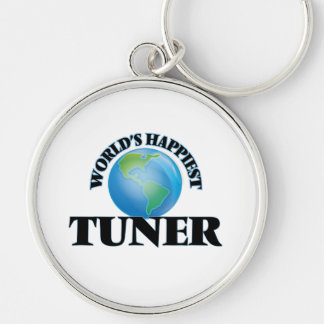 World's Happiest Tuner Silver-Colored Round Key Ring