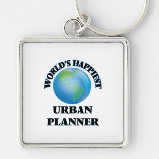 World's Happiest Urban Planner Silver-Colored Square Key Ring