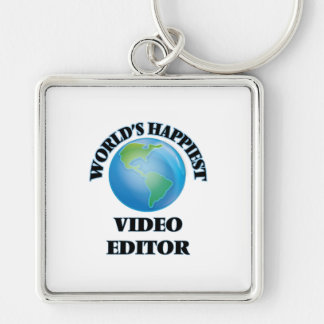 World's Happiest Video Editor Silver-Colored Square Key Ring