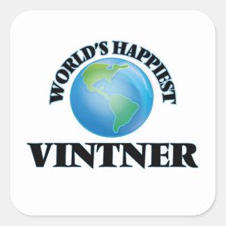World's Happiest Vintner Square Sticker