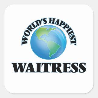 World's Happiest Waitress Square Sticker