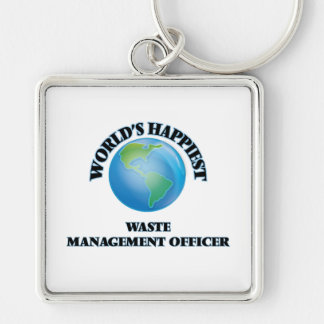 World's Happiest Waste Management Officer Silver-Colored Square Key Ring