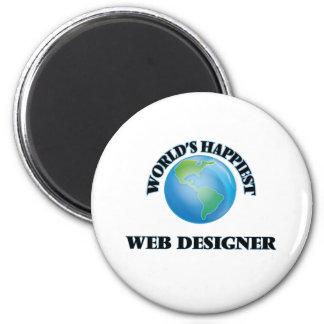 World's Happiest Web Designer 6 Cm Round Magnet