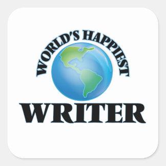 World's Happiest Writer Square Sticker