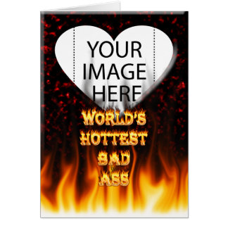 World's Hottest Bad Ass fire and flames red marble Note Card