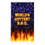 World's hottest BBQ fire and flames blue marble Pack Of Standard Business Cards