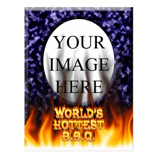 World's hottest BBQ fire and flames blue marble Postcards