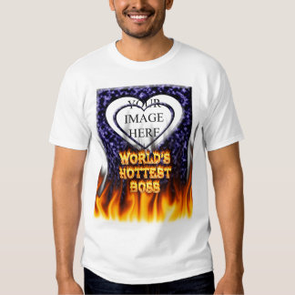 World's hottest Boss fire and flames blue marble. Shirt