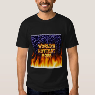 World's hottest Boss fire and flames blue marble. Shirts