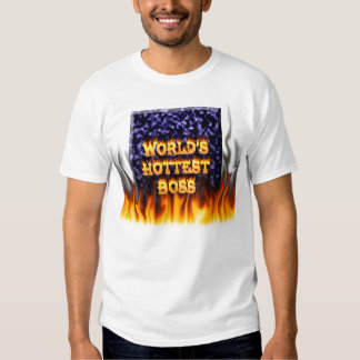 World's hottest Boss fire and flames blue marble. Tshirt