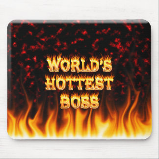 World's hottest Boss fire and flames red marble Mouse Pad