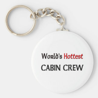 Worlds Hottest Cabin Crew Basic Round Button Key Ring