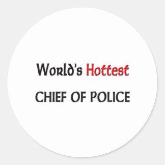 Worlds Hottest Chief Of Police Round Stickers