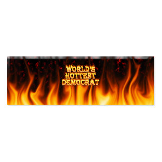 World's Hottest Democrat fire and flames red marbl Double-Sided Mini Business Cards (Pack Of 20)