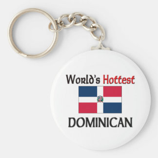 World's Hottest Dominican Basic Round Button Key Ring