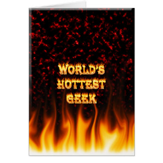 World's hottest Geek fire and flames red marble Note Card
