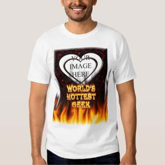 World's hottest Geek fire and flames red marble Tee Shirts