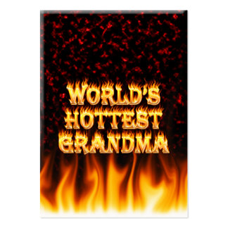 World's hottest Grandma fire and flames red marble Pack Of Chubby Business Cards