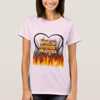 World's hottest Grandma fire and flames red marble T-Shirt