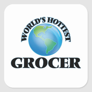 World's Hottest Grocer Square Sticker