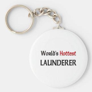 Worlds Hottest Launderer Basic Round Button Key Ring