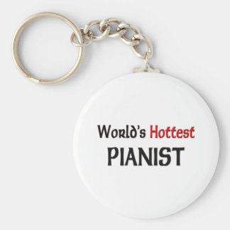 Worlds Hottest Pianist Basic Round Button Key Ring