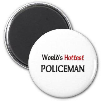 Worlds Hottest Policeman 6 Cm Round Magnet