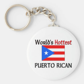 World's Hottest Puerto Rican Basic Round Button Key Ring