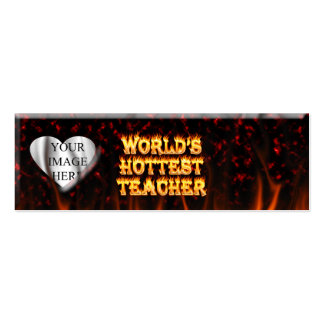 World's hottest Teacher fire and flames red marble Double-Sided Mini Business Cards (Pack Of 20)