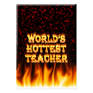 World's hottest Teacher fire and flames red marble Pack Of Chubby Business Cards