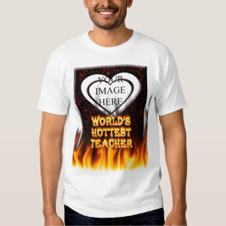 World's hottest Teacher fire and flames red marble T-shirt