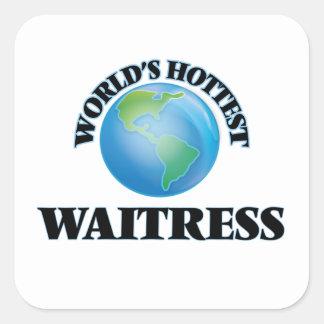 World's Hottest Waitress Square Sticker
