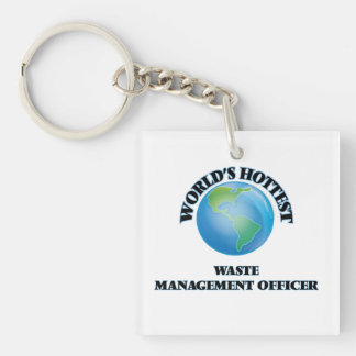 World's Hottest Waste Management Officer Square Acrylic Key Chain