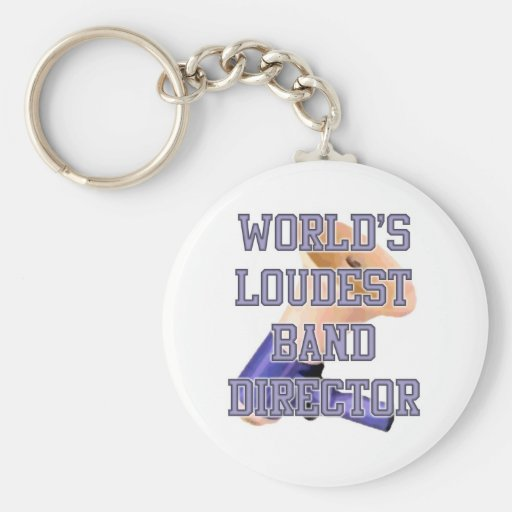 World's Loudest Band Director Basic Round Button Key Ring